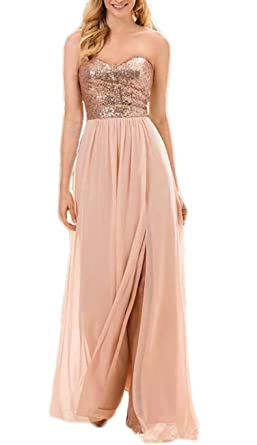 Butmoon Women s Sequin and Chiffon Sweetheart Neck Bridesmaid Dresses Long  Rose Gold US4 2922fe4876