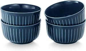 CONNYAM 12 Ounce Porcelain Soup Bowls Set for Cereal Salad Fruit, 4pcs Oven & Dishwasher & Microwave Safe Use