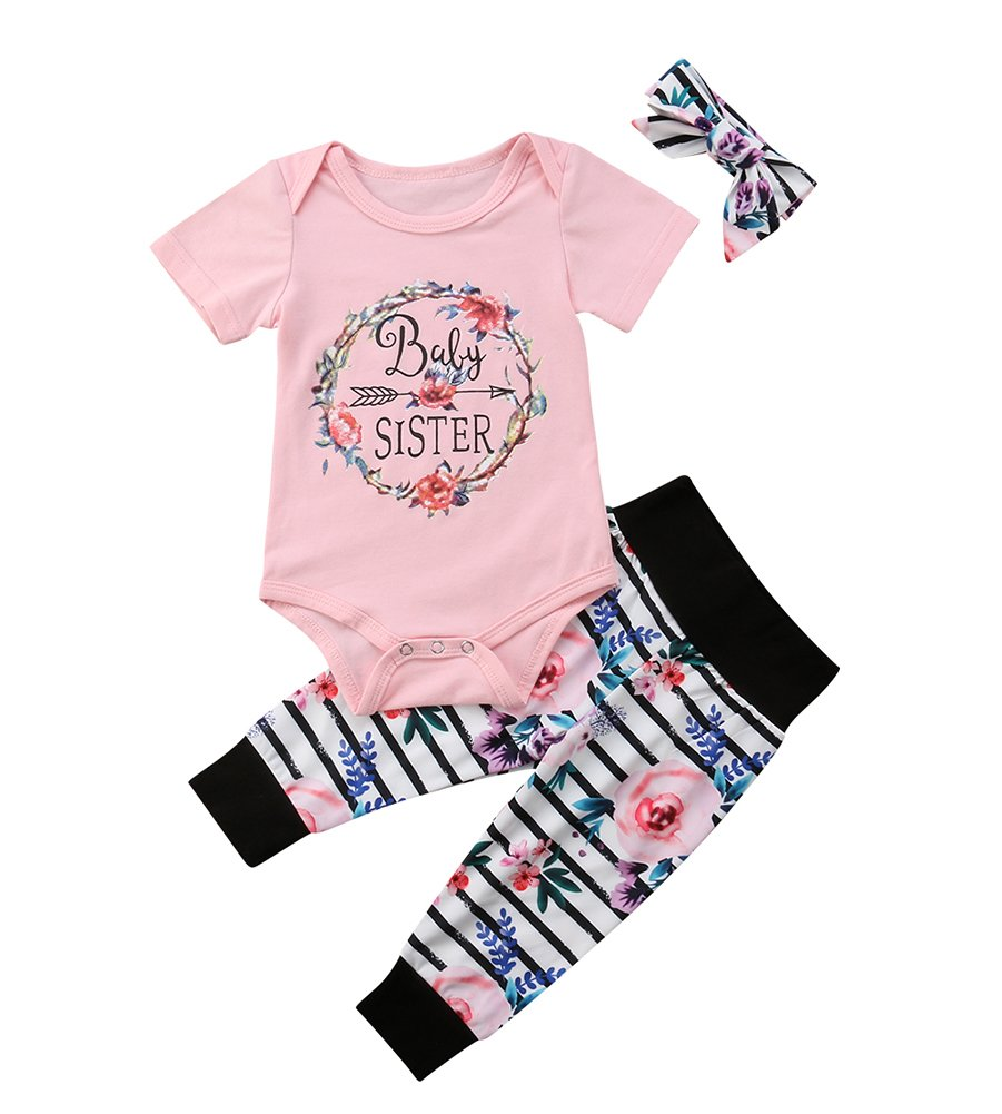 Baby Girls Little Sister Bodysuit Tops Floral Pants Bowknot Headband Outfits Set (6-9 Months, Style 6 Short Sleeve)