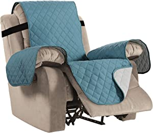 "Reversible Recliner Cover Recliner Slipcover Recliner Furniture Protector 2"" Elastic Strap Slip Resistant Water Repellent Slipcover Seat Width Up to 30"" (Oversized Recliner, Smoke Blue/Beige)"