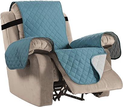Image ofFundas Impermeables para sillas reclinables para sillones Fundas reclinables para sillas de Cuero Fundas reclinables para sillas Protect (Sillón reclinable, Azul/Gris)
