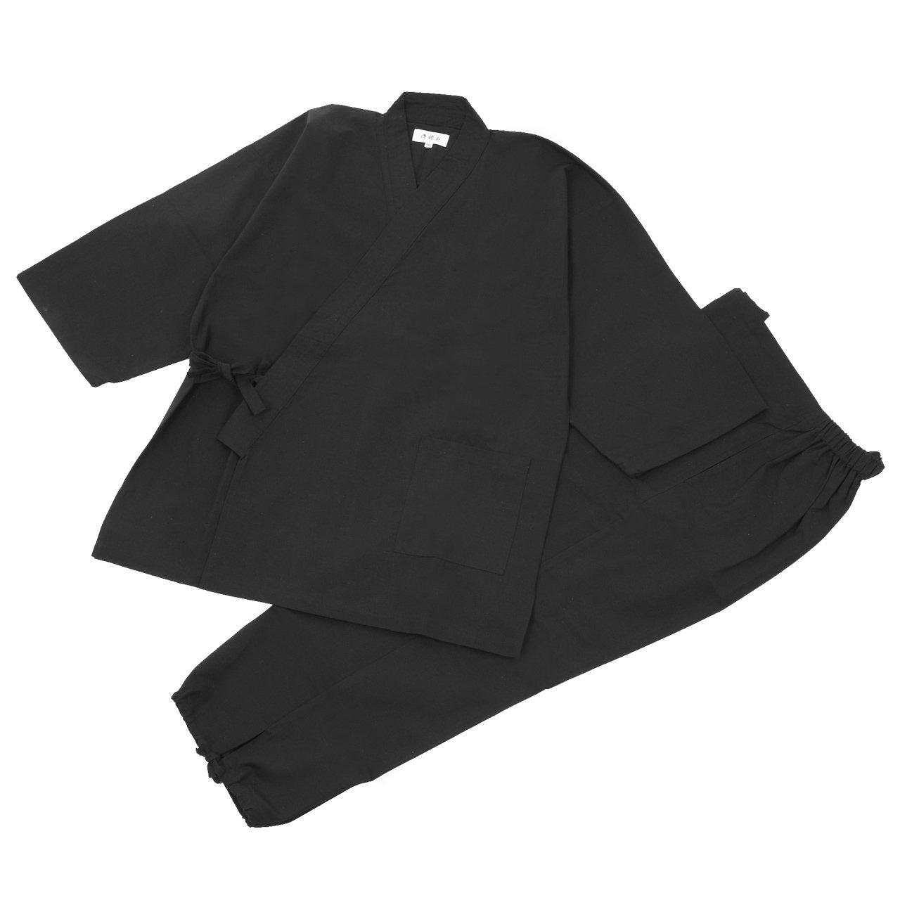 江戸てん 作務衣 久留米紬織り 日本製 高級 素材からこだわりました つむぎ メンズ B00I7H7JX4 L|ブラック ブラック L