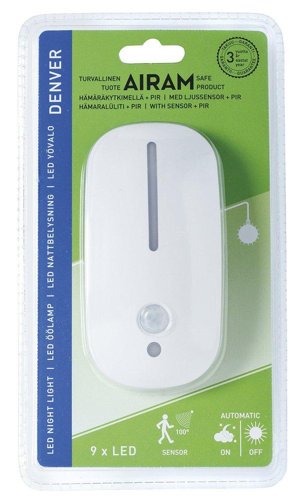 Airam Denver luz nocturna con sensor crepuscular y de movimiento 1.8 W, blanco, 115 x 58 x 62 mm: Amazon.es: Iluminación