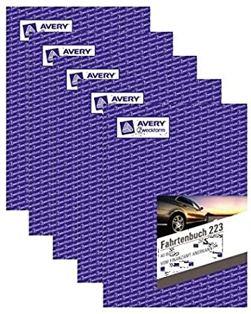 Avery Zweckform 223 Fahrtenbuch f/ür PKW 2 St/ück A5, 40 Blatt