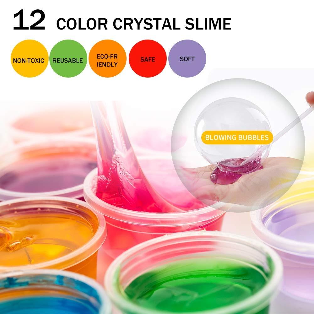 165 Pack DIY Slime Kit, Slime Making Kit Includes 12 Crystal Slime