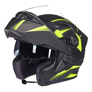 GWJ Motocicleta Bluetooth Cascos Dot Modular Abatible Bluetooth Touring Cascos Incorporado De Doble Altavoz Bluetooth Headset