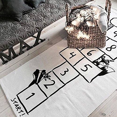 Hopscotch Game Rug (Hiltow Hop and Count Hopscotch Game Rug Kids Rug,Children's Rugs Baby Nursery crawling jumping Carpet Girls Bedroom Playroom Play Mat School Classroom Learning Carpet Educational Rugs)