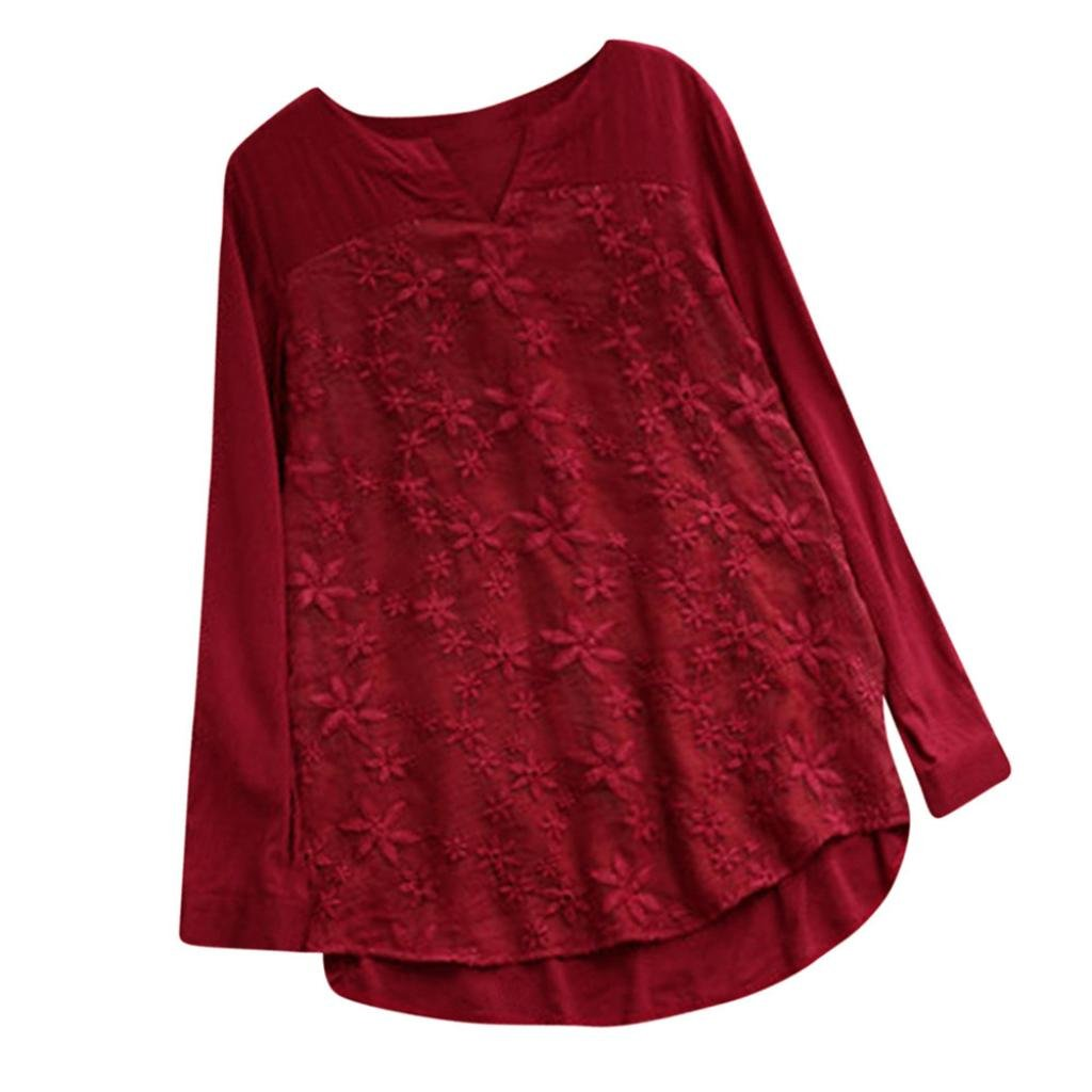 EnjoCho Women's Blouse Floral Lace Embroidery V-Neck Long Sleeve Loose Baggy Tops T Shirt for Women (Size:2XL, Red)