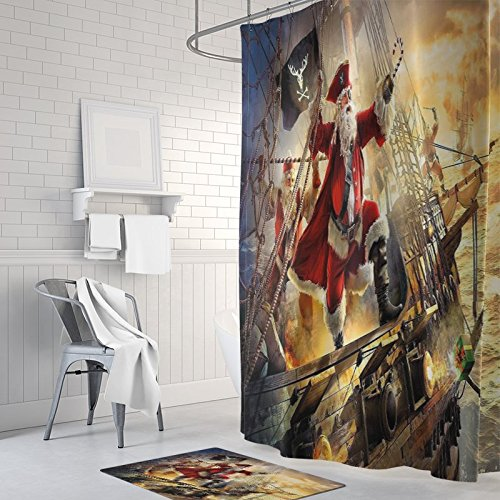 Pirate Captain Funny Santa Claus Merry Christmas Bath Curtains Home Decor of Waterproof Bathroom Polyester Fabric Shower Curtain 60