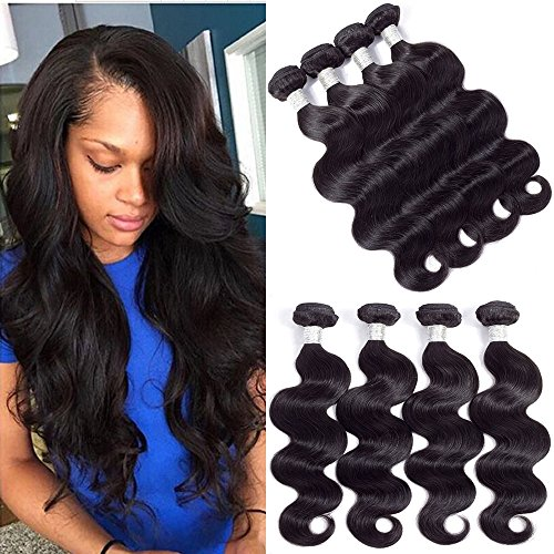Price comparison product image BK Beckoning Hair Unprocessed Body Wave Human Hair 4 Bundles 8 10 12 14 Inches 7A Mink Brazilian Hair Weave Bundles Natural Color Can be Dyed Full End Cheap Price
