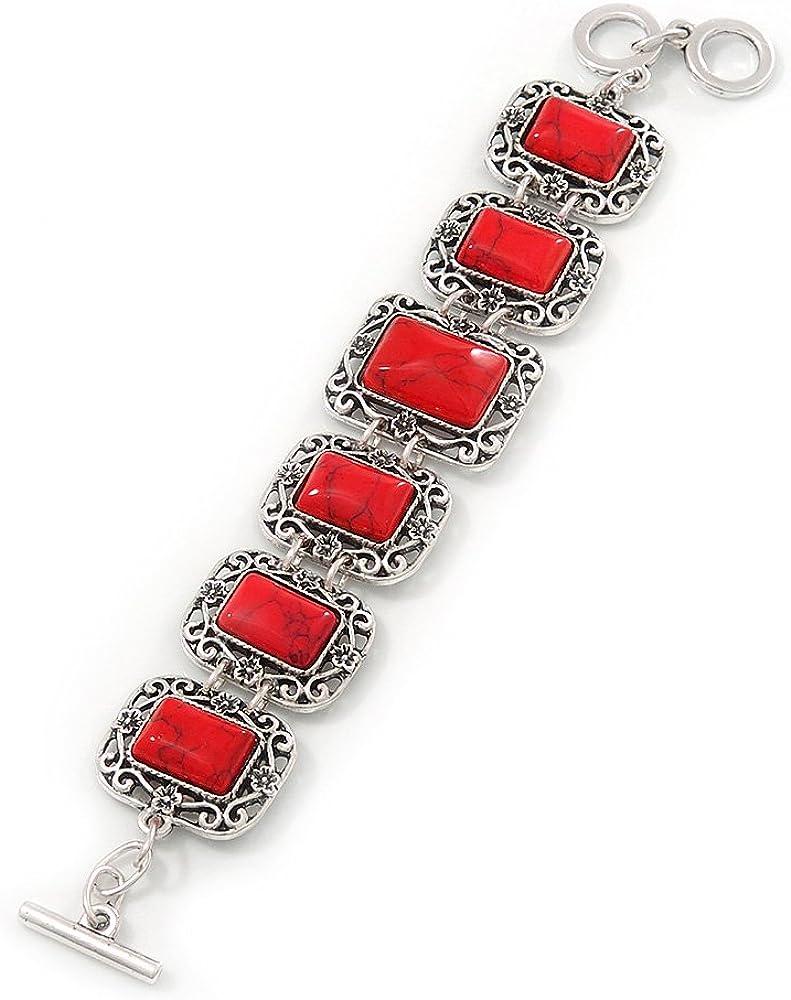 Rojas con piedra cerámica diseño de filigrana de flores cuadrado cierre pulsera para techos -18 cm, longitud