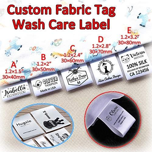120 etiquetas de satén personalizadas para ropa, hechas a mano ...