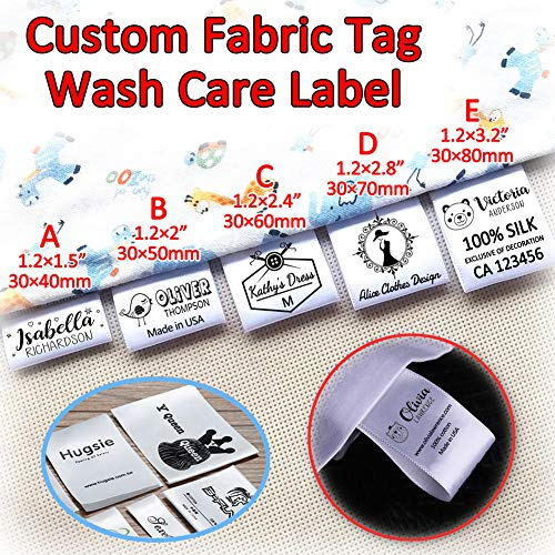 (120pcs Custom Clothing Labels Satin Ribbon Handmade Name Brand Logo Wash Care Clothes Sewing Patch Garment Fabric Tags Personalized 1.2