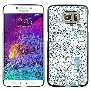 [Neutron-Star] Snap-on Series Teléfono Carcasa Funda Case Caso para Samsung Galaxy S6 [Líneas Resumen forma Art Pen Ocupado]