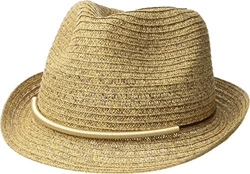 San Diego Hat Company Women's Metallic Bar Trim Fedora Hat, Natural, One Size - Trim Fedora