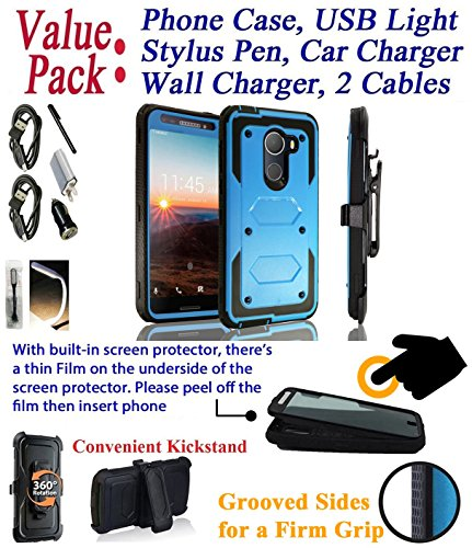 Value Pack + for 5.5'' T Mobile REVvL REWL Alcatel Walters case Phone Case 360° Cover Screen Protector Belt Holster Kick Stand Armor Shock Bumper (Blue) by 6goodeals