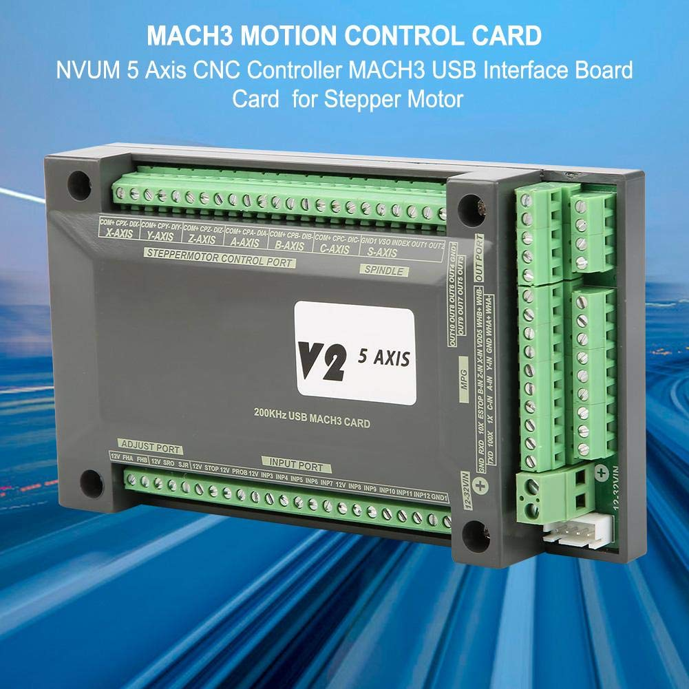 5 Achsen USB Breakout Board Interface Mach3 CNC Motion Control Karte f/ür Schrittmotor mit USB-Kabel