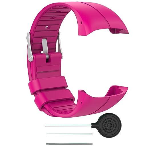 Zolimx Correa de reloj pulsera de Silicona brazalete reemplazo para Polar M400/M430 Reloj fitness (Rosa caliente): Amazon.es: Relojes