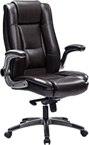 REFICCER High Back Office Chair, Bonded Leather Executive Computer Desk Swivel Chair with Adjustable Tilt Angle Flip-up Arms Thick Padding for Comfort and Ergonomic Design for Lumbar Support (Brown)