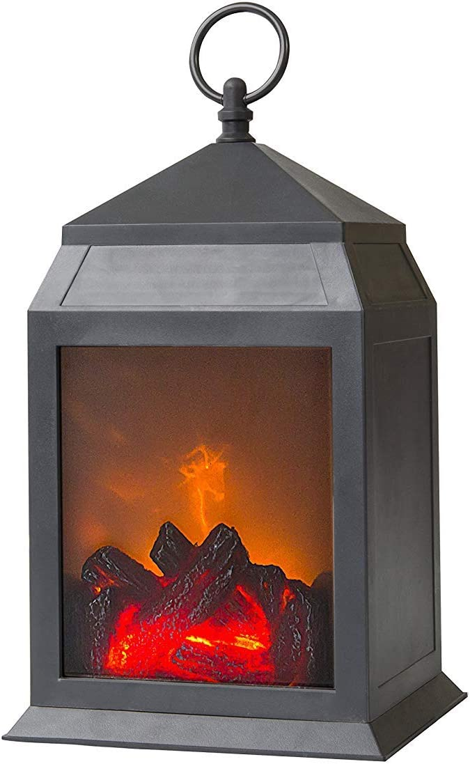 """YAKii 12"""" H Fireplace Lantern 6 Super Bright LEDs 6 Hours Timer Battery Operated, Plastic Hanging Sitting Decoration Indoor & Outdoor Use, Black"""