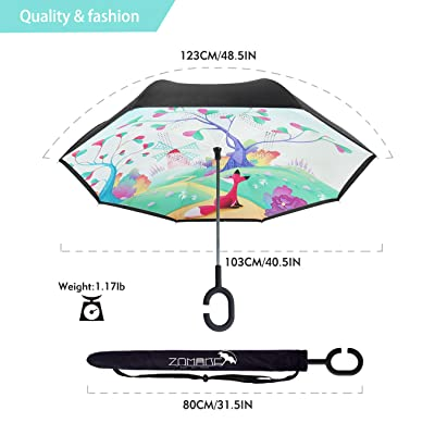 Inverted Umbrella Blue Flower Double Layer Outdoor snow Rain Sun Car Travel Large Reversible Umbrella with C Shape Handle for UV Protection Waterproof Windproof