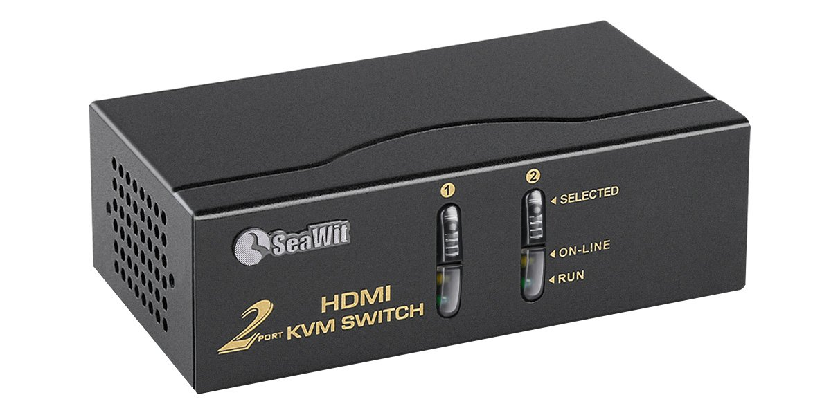 Sea Wit KVM Switch, 2 Port HDMI KVM Switch with Cable Kit and Supports EDID HDCP 1080p 3D and Auto Scan,for Windows/XP/Vista Linux and Mac- 2 in 1 Out