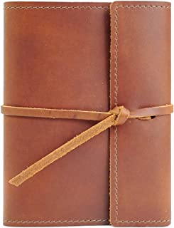 product image for Large Refillable Leather Notebook Journal Diary, Handmade in The USA by Rustico, Top Grain, Lined Pages, Great for Writers, Poets, and More