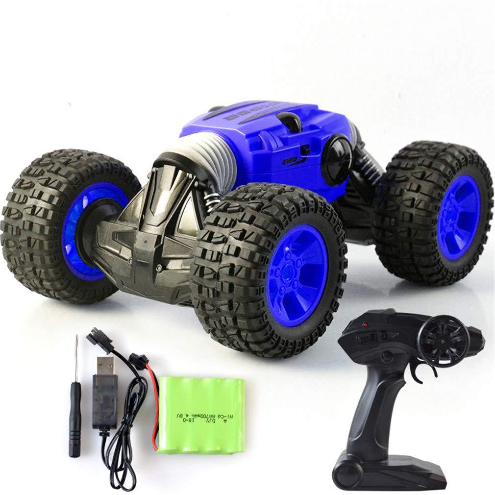Zzh Fuera de la Carretera de Escalada de Control Remoto de Velocidad del Coche 4WD 1:16 2.4 G 15KM/h deformación de un Solo botón de Control Remoto Truco basculante Coche de torsión,Blue