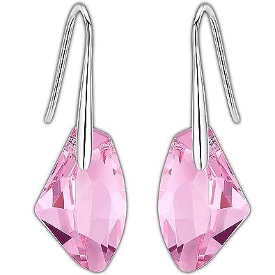 c4062cd194a3 Pendientes Swarovski- Aretes de Plata Fina 925 para Mujeres con Rosa Verde  Cristales Swarovski de
