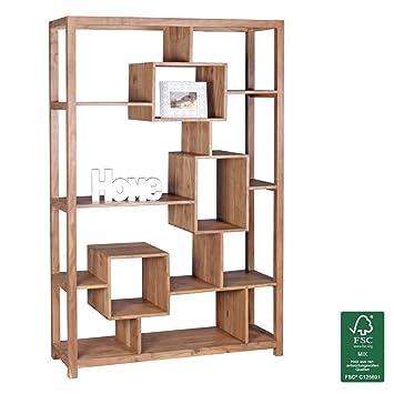 FineBuy Bücherregal Massiv-Holz Akazie 115 x 180 cm Wohnzimmer-Regal ...