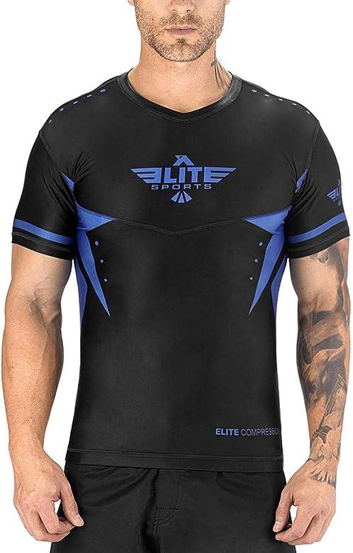 Best BJJ Raked Short Sleeve Rashguards Elite Sports BJJ MMA No-Gi Mens Rash Guard for Men