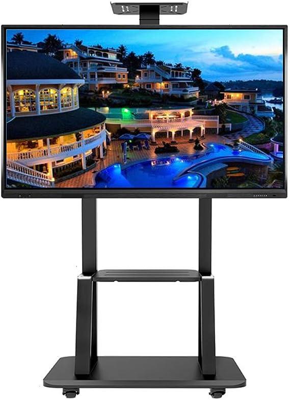ZAQI Soporte TV Trole Carro de TV móvil para Panel de Pantalla Plana de Plasma LED LCD de 55/65/70/75 Pulgadas  Soporte de Suelo con Ruedas con Bloqueo, con 2 estantes de Almacenamiento,