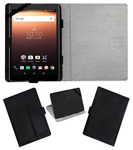 los angeles 1aa63 47ed9 Acm Leather Flip Flap Case for Alcatel A3 10 Tablet Cover Stand Black