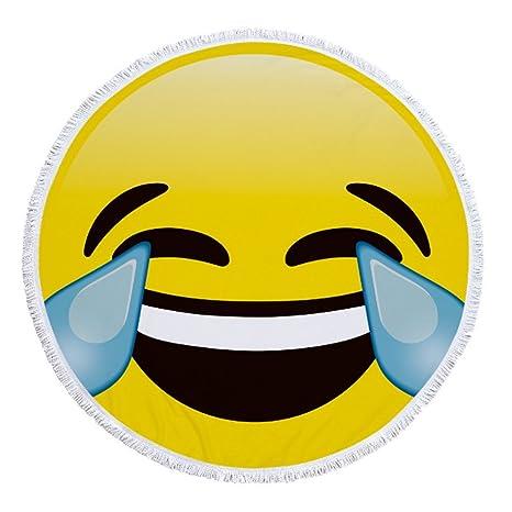 swall owuk 3d redondas Sonrisa cara Toalla de playa tapiz manta Emoji borla grandes toallas –