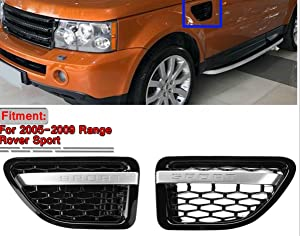 Kune Pair Sport Air Vents Grill Black Autobiography-Style Silver For 2006 2007 2008 2009 Range Rover