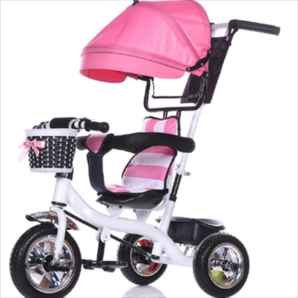 6歳の子供の屋内屋外の小さな三輪車の自転車の男の子の自転車の自転車6歳の赤ちゃんの3つのホイールトロリーの天井、固体プラスチックホイール(ピンク、ホワイト) B07DVYPRCT