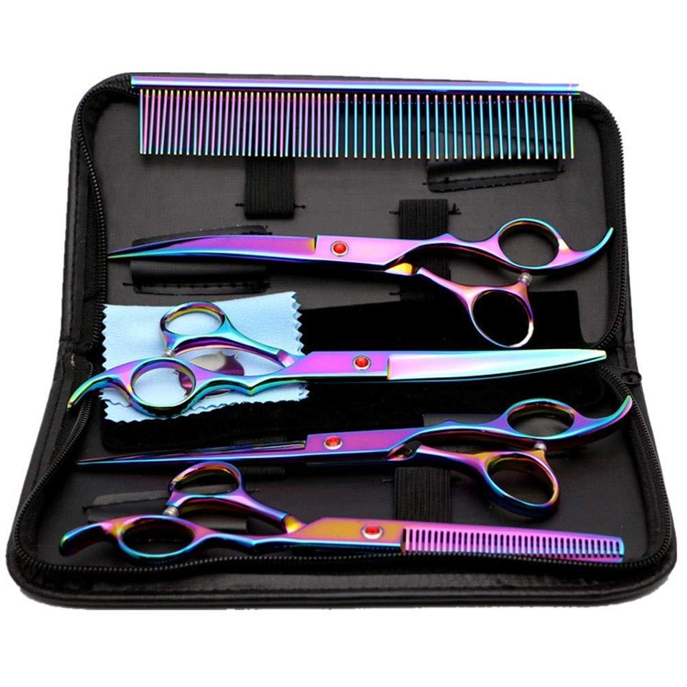 Blian1 6セットのヘアカットはさみストレート+歯のはさみをグルーミングする高級カラーペット (色 : Colors) B07RZCRW1X Colors