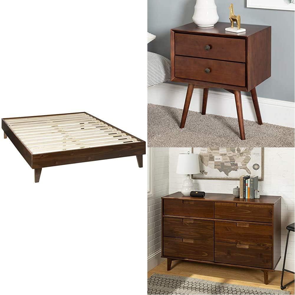 WE Furniture Wood Nightstand Side Bedroom Storage Drawer Bedside End Table, 2, Walnut   Wood Queen Platform Bed Frame Bedroom, Walnut   Bedroom Storage Drawer Organizer, 6, Walnut Brown