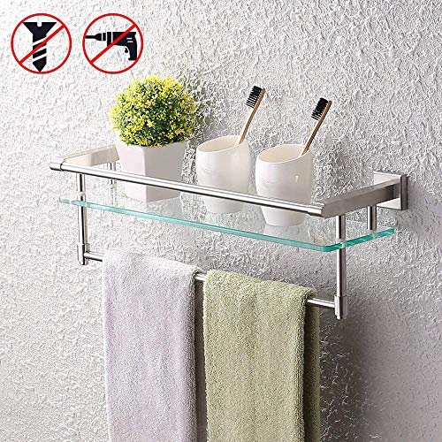 (KES SUS304 Stainless Steel Bathroom Glass Shelf with Towel Bar and Rail Brushed Finish Heavy-Duty Rustproof Wall Mount NO Drilling, A2225DG-2)