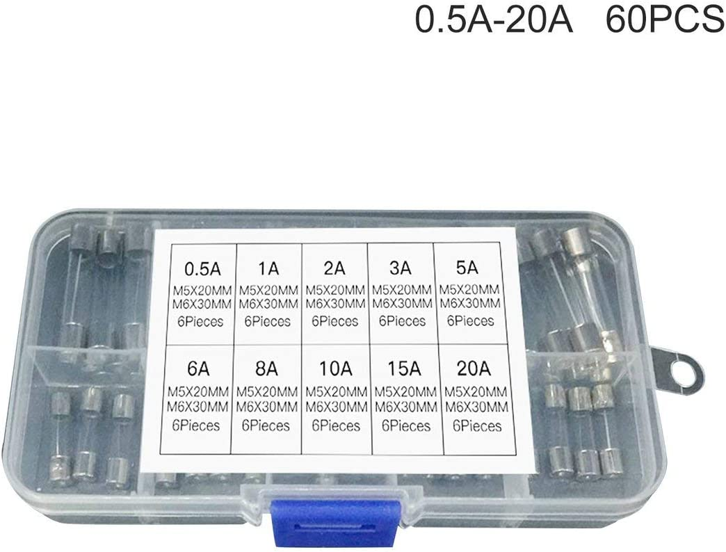 15A 8A 1A 20A 5A 6A SeniorMar 60 ST/ÜCKE 5x20mm 6x30mm Schnelle Sicherung Glasr/öhrensicherung Sortiertes gemischtes Kit Versicherungsr/öhre 0,5A 3A 10A 2A