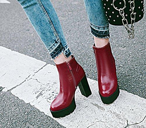 Aisun Damen Kunstleder Kurzschaft Plateau Blockabsatz High Heels Stiefel Mit Reißverschluss Rot