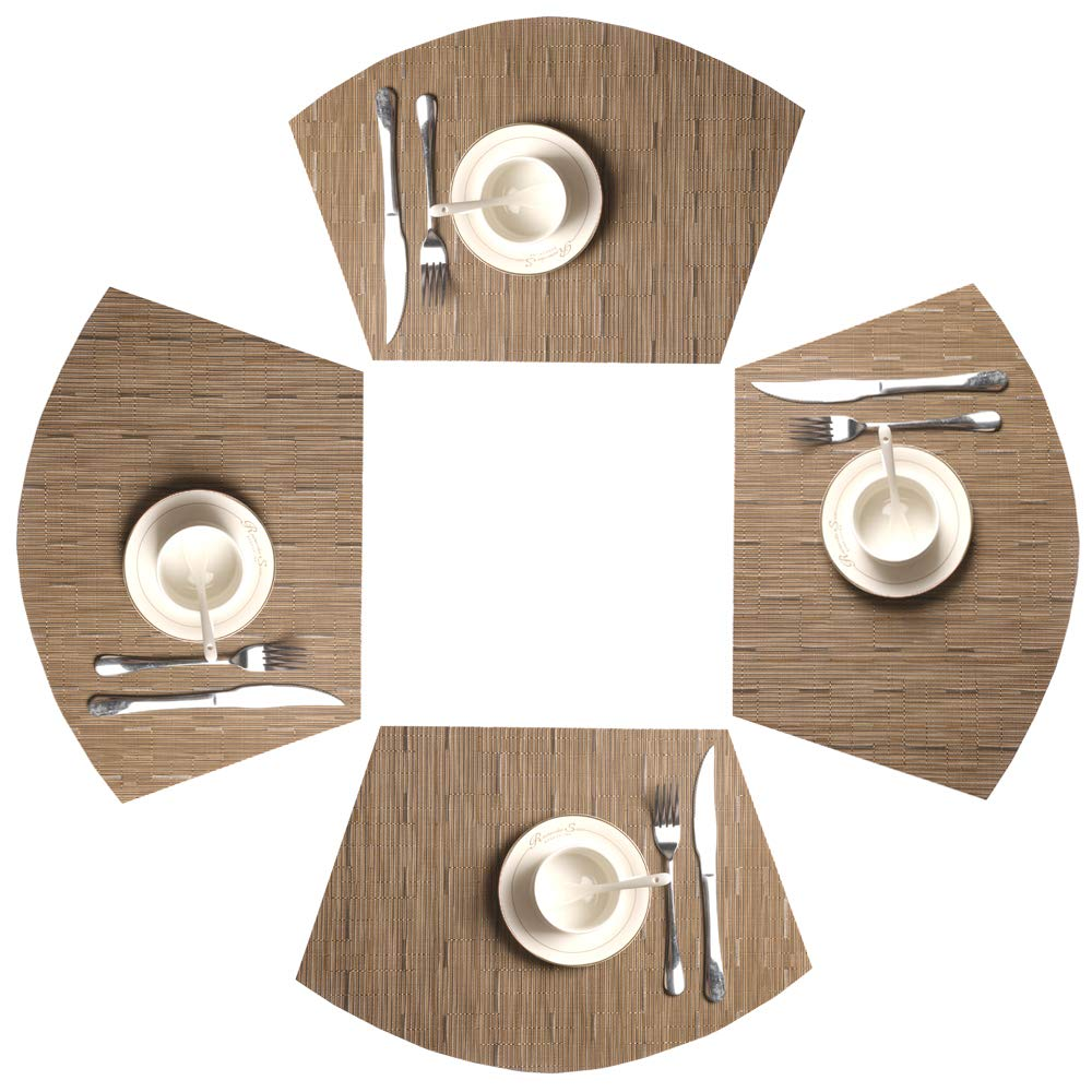 SHACOS Round Table Placemats 70% PVC 30%Polyster Heat Resistant Table Mats Washable (4, Bamboo Green) 4946112947733
