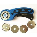 Taglierino rotante da 45mmper tessuto e carta, strumento per quilting, con 5lame rotanti di ricambio, lisce e dentellate
