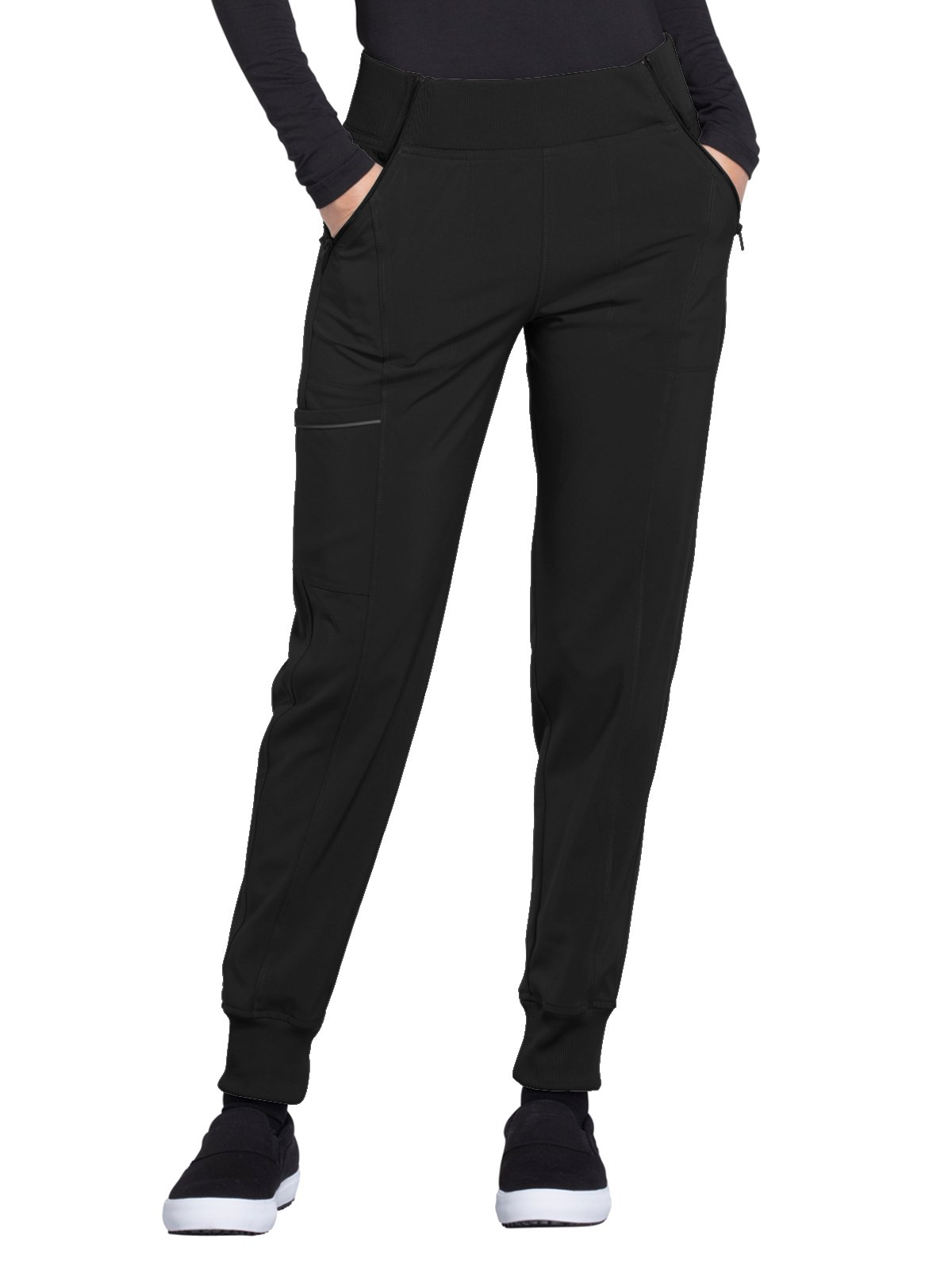 Cherokee Infinity CK110A Mid Rise Tapered Leg Jogger Pant Black S by Cherokee