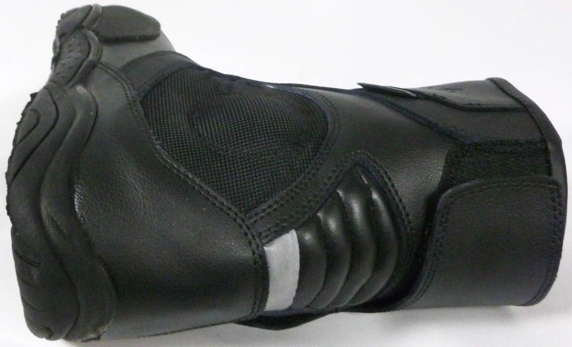 XTRM 810 Bottes Courtes en Cuir pour Moto de Tourisme Urbain Noir