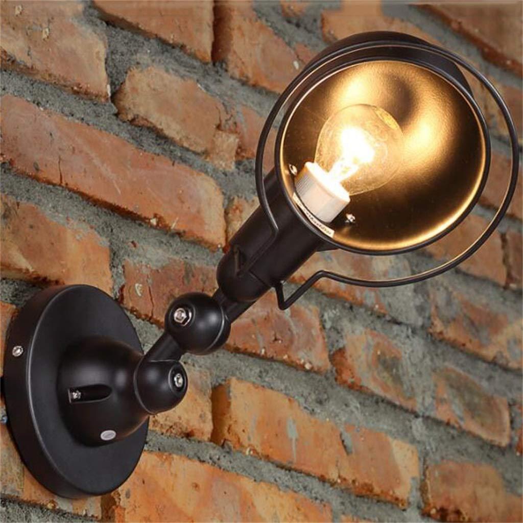 LZBD Lampada da Parete retrò Ristorante Studio Singolo Testa Lampada da Parete Industriale Lampada da Parete rossoante 220 v (Nero)