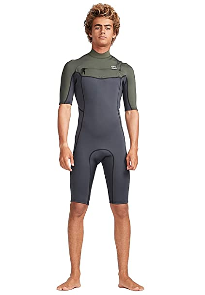Billabong Mens 2mm Furnace Absolute Chest Zip Shorty Wetsuit Black Olive  N42M23 Wetsuit Size - S ca749f69d