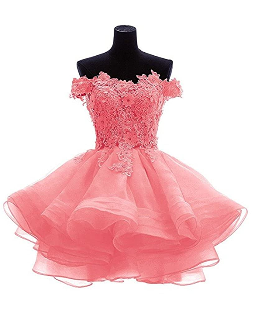 ANGELA Womens Off The Shoulder Organza Short Prom Homecoming Dresses