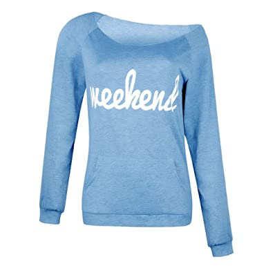 ecb914a5 MyMei Women Long Sleeve T-Shirt Weekend Letter Printed Top Tee Round Neck  Sexy One Shoulder Off Casual Blouse at Amazon Women's Clothing store: