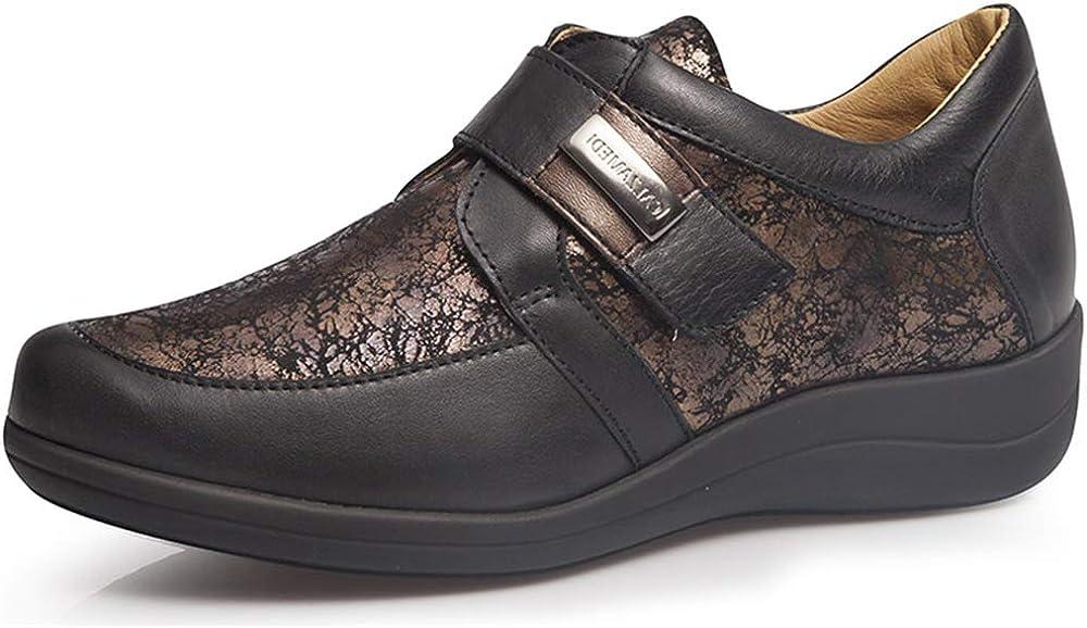 Zapatos Mujer CALZAMEDI,Piel Marron,Ancho horma14,Plantilla Extraible. Mod.0698